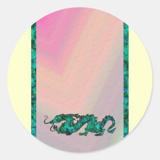 Dragon Dragon Cutout of Crystal Round Sticker
