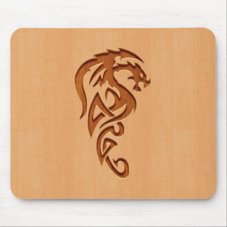 Dragon engraved on wood effect mouse pad