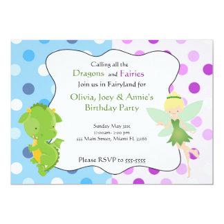 Dragon Fairy Blue Purple Birthday Invite