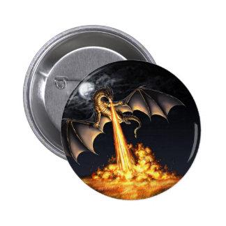 Dragon fire 6 cm round badge