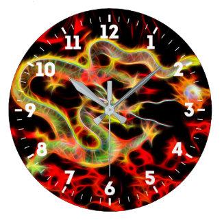 Dragon Fire decor on Lucky Energy on a Wall Clocks