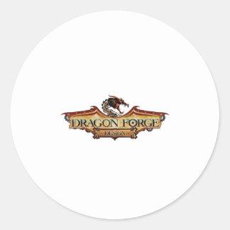 dragon forge design logo round sticker