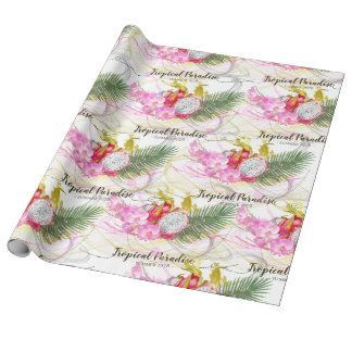 Dragon Fruit and Pink Orchid Tropical Calligraphy Wrapping Paper