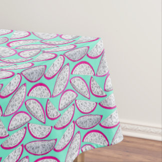 Dragon fruit pattern on cyan background tablecloth