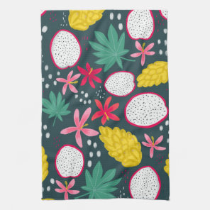Dragon fruit tropical blooms kitchen towel