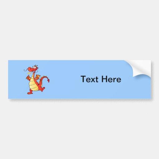 Dragon Funny Happy Fantasy Fiction Drawing Cartoon Bumper Stickers