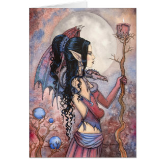 Dragon Girl Gothic Fantasy Art by Molly Harrison Card