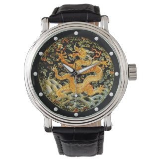 Dragon golden Chinese Qing dynasty embroidery Watch