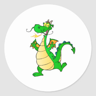 Dragon Green Happy Fantasy Fiction Drawing Cartoon Round Sticker