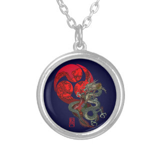 Dragon Guitar Tomoe Silver Plated Necklace