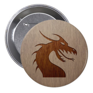 Dragon head engraved on wood effect 7.5 cm round badge