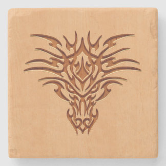 Dragon head engraved on wood effect stone beverage coaster