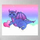 Dragon Heart - Cute Blue & Purple Dragon Poster