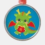 Dragon Holding Lantern Silver-Colored Round Decoration