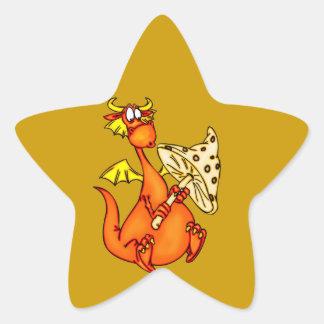 Dragon Holding Mushroom Star Sticker