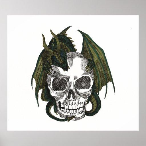 Dragon holding skull poster