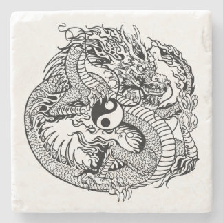 dragon holding yin yang stone beverage coaster