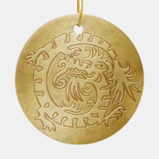 Dragon Icon - Gold on Gold - 3 Christmas Ornament