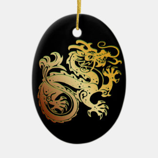 Dragon Icon - Green Gold on Black - 1 Christmas Ornament