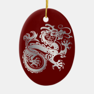 Dragon Icon - Red Silver on Red - 1 Christmas Ornament