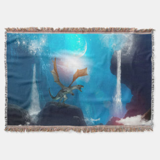Dragon in a magical fantasy landscape throw blanket