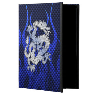 Dragon in Chrome like blue Carbon Fiber Style iPad Air Cover