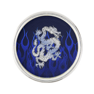 Dragon in Chrome like blue Carbon Fiber Styles Lapel Pin