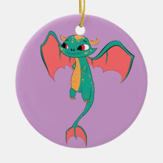 Dragon in flight, Magical Creature Round Ceramic Decoration