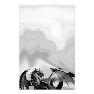 Dragon in Gray Fantasy Stationery
