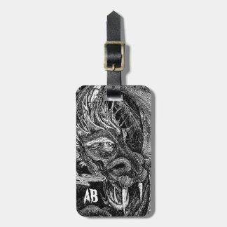 Dragon 'initials' luggage tag 2 sides