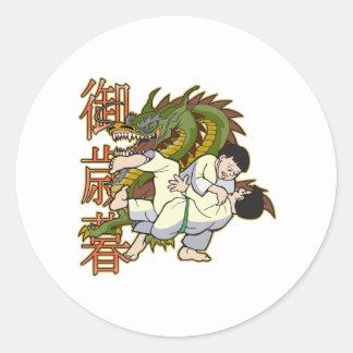 Dragon Karate Fighters Round Sticker
