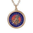 Dragon katana 2 gold plated necklace