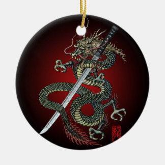 Dragon katana round ceramic decoration
