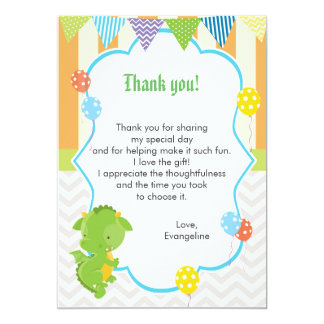 Dragon Kids Birthday Thank You Card Note