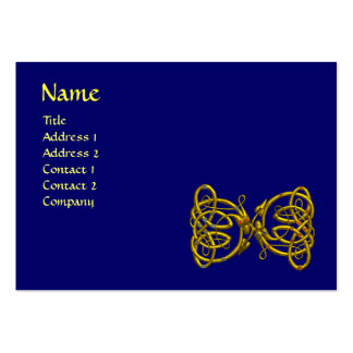 DRAGON LOVE / Gold Celtic Knot Dragons Blue Pack Of Chubby Business Cards