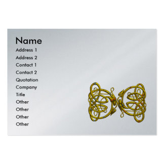 DRAGON LOVE ,Gold Celtic Knots platinum metallic Pack Of Chubby Business Cards