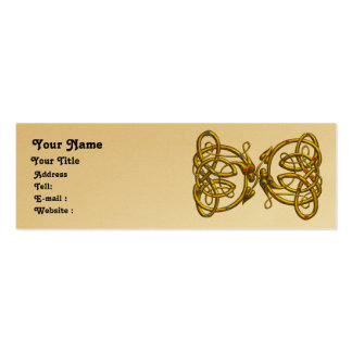 DRAGON LOVE ,gold metallic paper Pack Of Skinny Business Cards