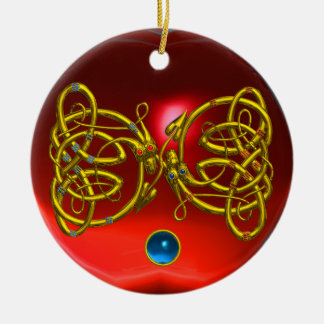 DRAGON LOVE HEART Red Ruby and Blue Sapphire Double-Sided Ceramic Round Christmas Ornament