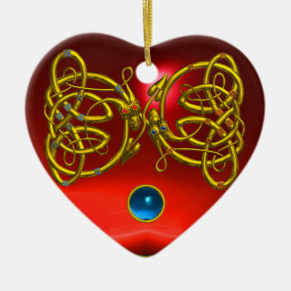 DRAGON LOVE HEART Red Ruby and Blue Sapphire Double-Sided Heart Ceramic Christmas Ornament
