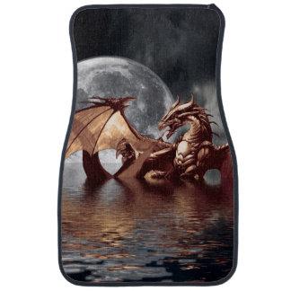 Dragon & Moon fantasy artwork Floor Mat