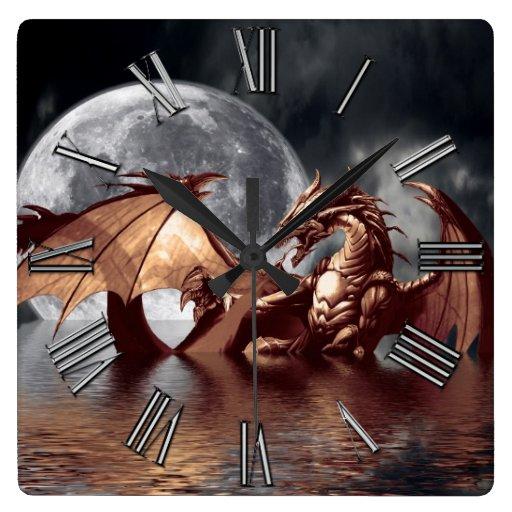 'Dragon & Moon Fantasy Wall Clock
