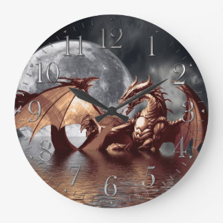 Dragon & Moon Fantasy Wall Clock