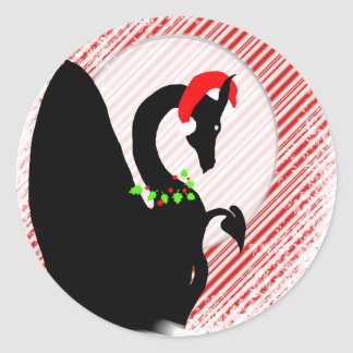 Dragon Moon Holiday (Candy Cane Background) Round Sticker