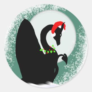 Dragon Moon Holiday (Green) Round Sticker