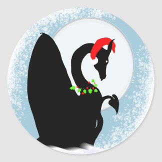 Dragon Moon Holiday Round Sticker