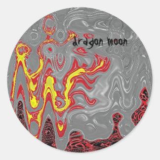 dragon moon scales round sticker