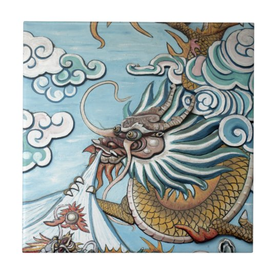 Dragon mural in Chinese Buddhist temple Small Square Tile