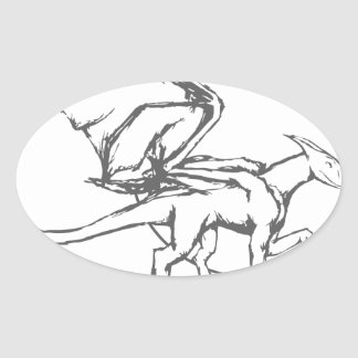 Dragon Night - Design Oval Sticker