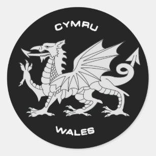 Dragon of Wales (Cymru)in Black and Grey Classic Round Sticker