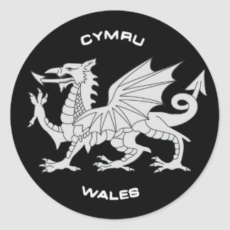 Dragon of Wales (Cymru)in Black and Grey Classic Round Sticker